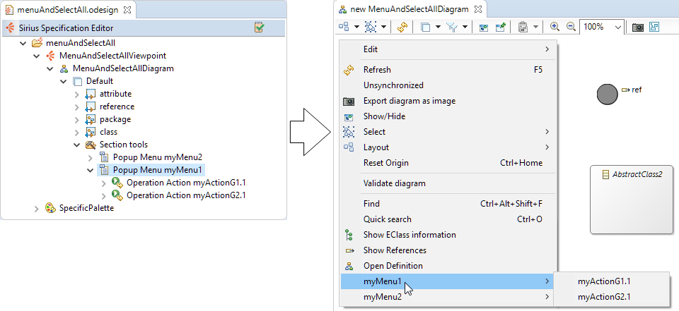 A small glimpse of EclipseCon EU (2/4): Organize your actions in diagram's contextual menus